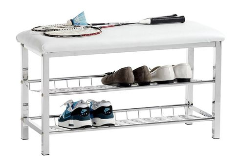 buy 3 tier storage shoe rack with bench white from our. Black Bedroom Furniture Sets. Home Design Ideas