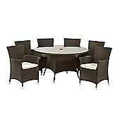 Cannes 6 Seat Round Dining Set - Mocha Brown