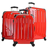 Swiss Case 4 Wheel Hard 3Pc Suitcase Set Red