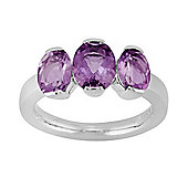 Gemondo Sterling Silver 2.26ct Oval Cut Natural Amethyst Classic Three Stone Ring