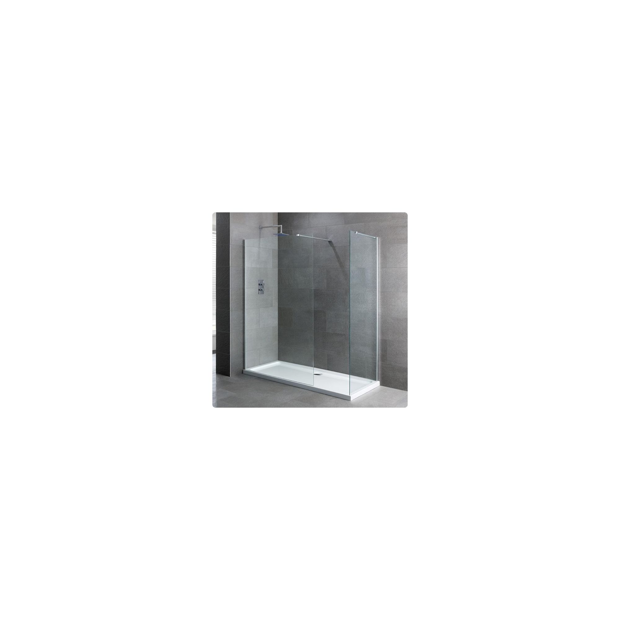 Duchy Select Silver Walk-In Shower Enclosure 1400mm x 700mm, Standard Tray, 6mm Glass at Tesco Direct