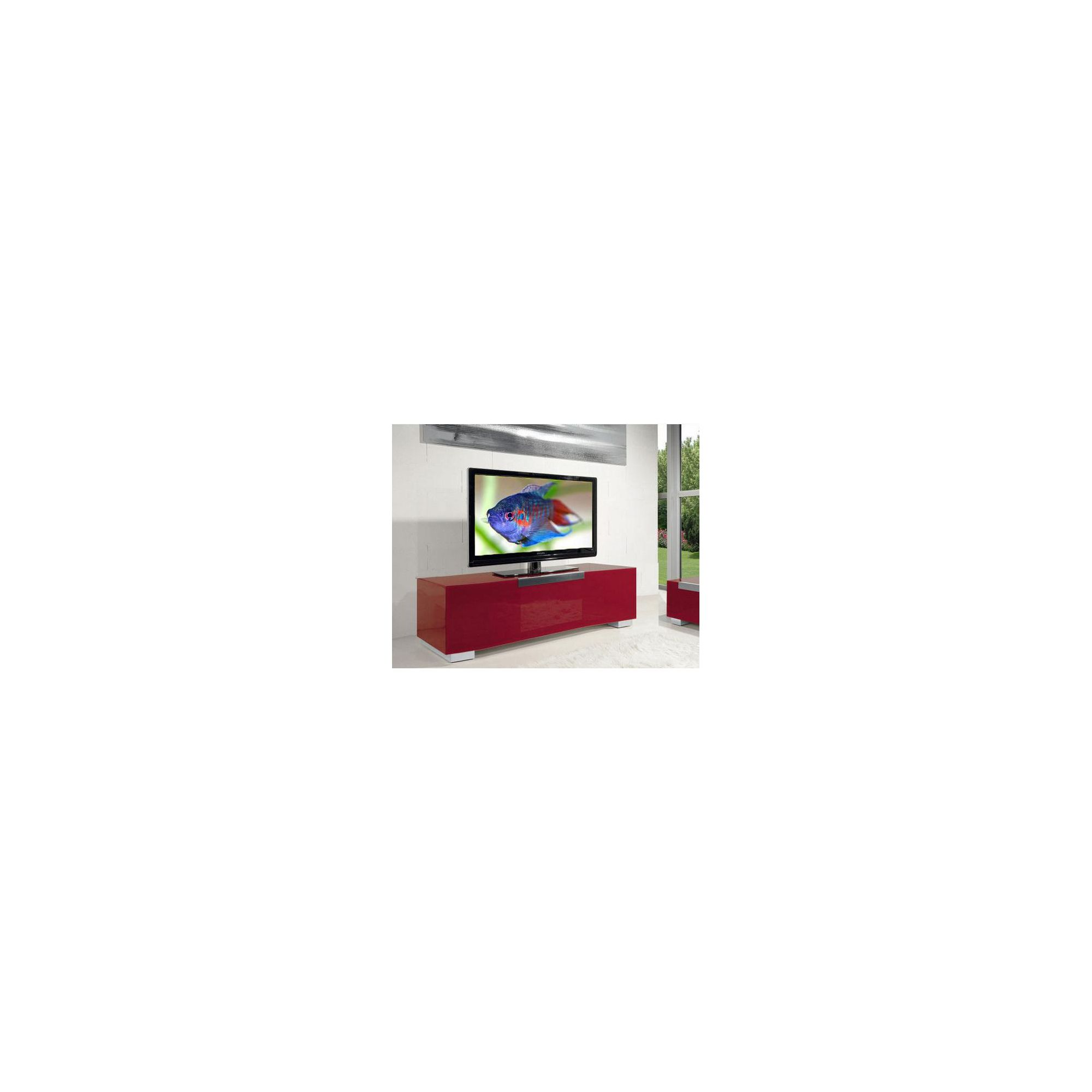 Triskom Stainless Steel / Glass TV Stand for LCD / Plasmas - Red Glass at Tesco Direct