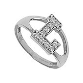 Silver Cubic Zirconia Identity ID Initial Signet Ring Letter L
