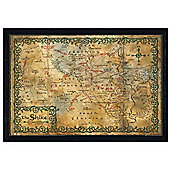 The Hobbit Black Wooden Framed Map of the Shire Poster