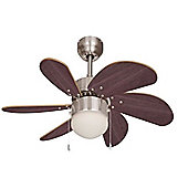 Typhoon Brushed Chrome 30 inch Ceiling Fan with Light