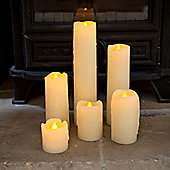 Set of 6 Skinny Wax Battery LED Candles