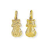 Jewelco London 9ct Yellow Gold - Cat Charm Pendant -