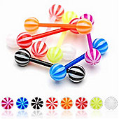Urban Male Pack Of Eight Flexible Teflon Straight Body Piercing Barbells & UV Balls