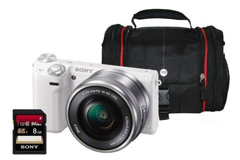 Sony NEX-5RL White CSC Camera Kit inc 16-50mm Lens, 8GB Class 10 SD Card & Bag