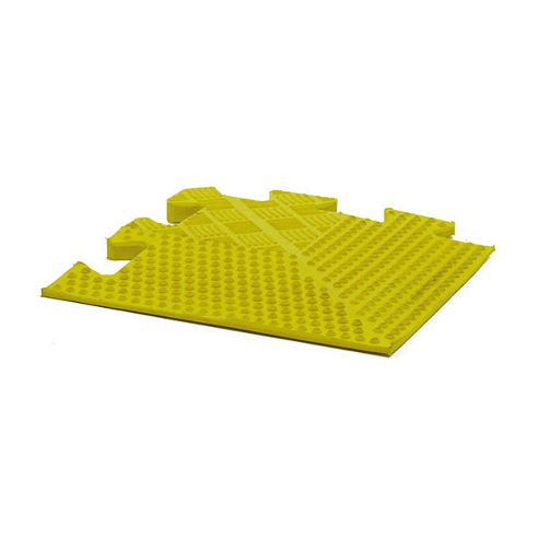 Bodymax Rubber Interlocking Floor Mats - Yellow Tapered Corner - 185mm x 185mm x 12mm tapered