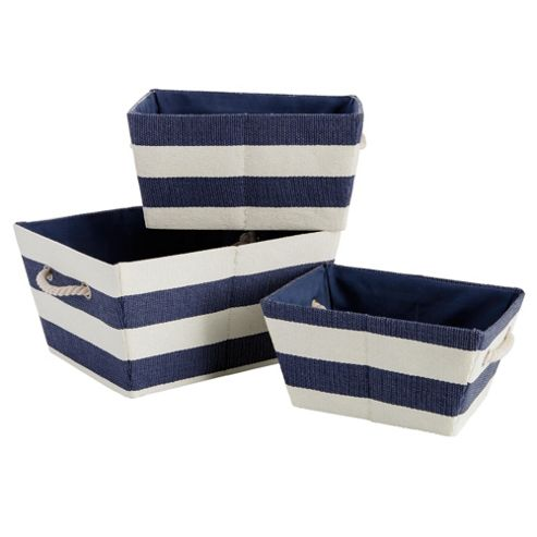 Nautical Set Of 3 Canvas Baskets