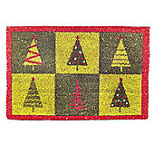 Pop Art Christmas Tree Design Coir Doormat