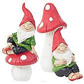 Set of 2 15cm Mushroom Sitting Garden Gnome Ornaments in Flip-flops