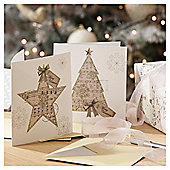 Music Note Tree and Star Christmas Cards, 10 pack