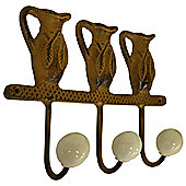 Jug - Cast Iron Garden Jug Design Hooks - Brown / White