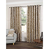 Crushed Velvet Natural Eyelet Curtains - 90x90 Inches (229x229cm)