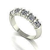 18ct White Gold 5 Stone Bar Set Moissanite Ring