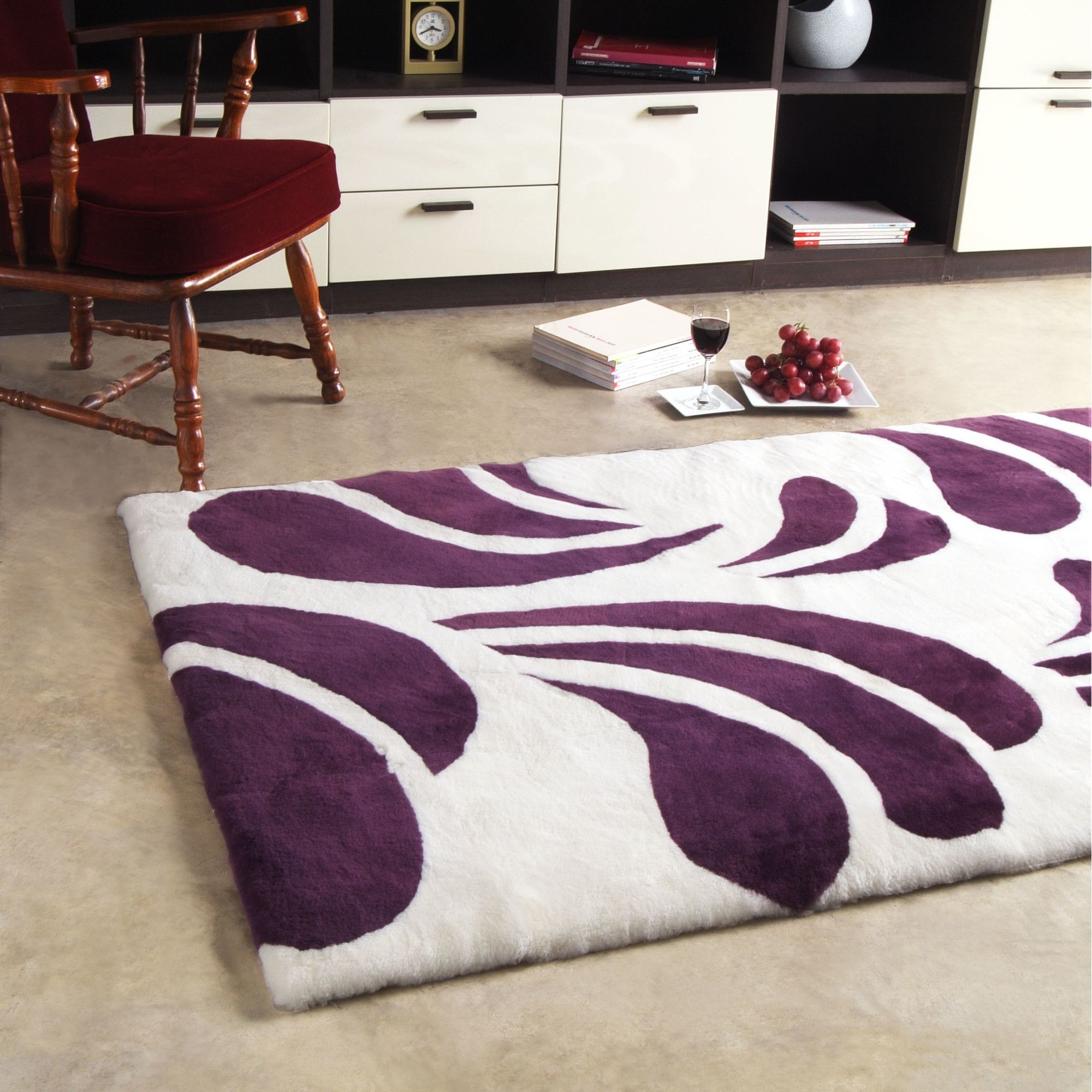 Bowron Sheepskin Shortwool Design Baroque Number 3 Cherry Rug - 65cm H x 240cm W x 1cm D