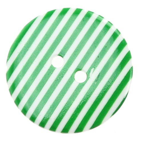 Buttons 20mm - Striped Green/White