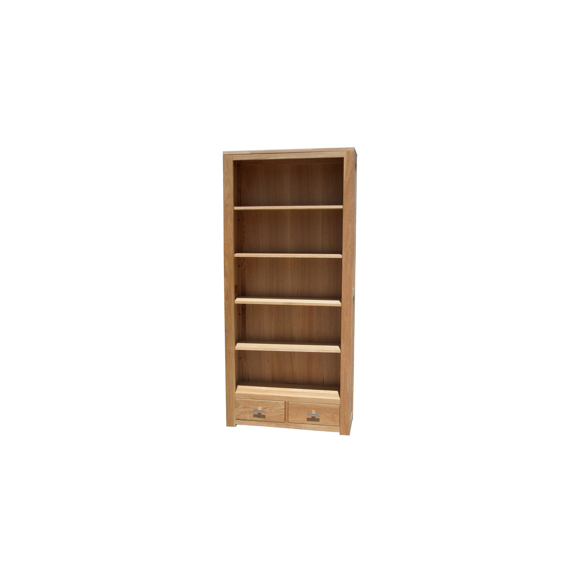 Home Zone Furniture Churchill Oak 2010 Wide Book Case in Natural Oak at Tesco Direct