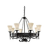 Classical Wrought Iron Cartwheel Ceiling Pendant Light