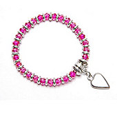 Hot Pink Pewter Link Bracelet