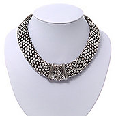 Wide Chunky Mesh Magnetic Choker Necklace In Silver Plating - 40cm Length