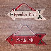 North Pole and Reindeer Barn Christmas Signs