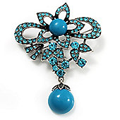 Light Blue Diamante Precious Heirloom Charm Brooch (Burn Silver Tone)