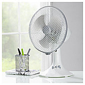 "Tesco 9"" Desk Fan, 2 Speed - White"