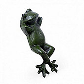 Laying Cast Iron Green Frog Garden Ornament