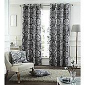 Catherine Lansfield Home Cotton Rich Toile Damask Charcoal Curtains 66x72