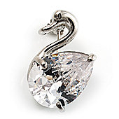 Tiny Glass Swan Pin Brooch (Silver Tone)