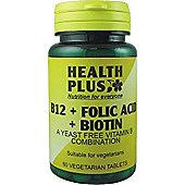 Health Plus B12 And Folic Acid And Biotin 60 Veg Tablets