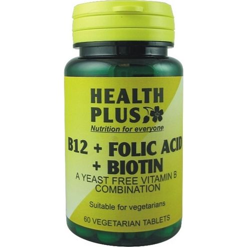 Health Plus B12 And Folic Acid And Biotin 60 Veg Tablets