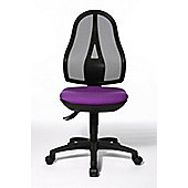Topstar Open Point Mesh Mid-Back Task Chair - Fixed Arms - Purple - Without Headrest