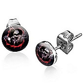 Urban Male Scary Skull Design Stud Earrings