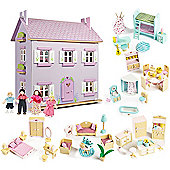 Le Toy Van Lavender House Dolls House, Sweetbee Furniture and Dolls
