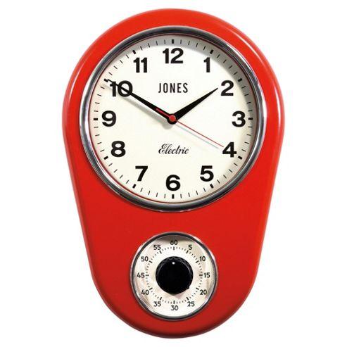 Jones & Co Kitchen Timer Clock Red