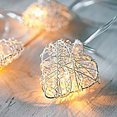 10 Silver Heart Battery LED Fairy Lights