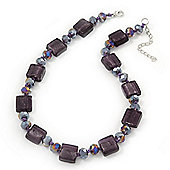 Purple Glass Bead Necklace In Silver Plating - 42cm Length/ 6cm Extension
