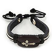 Unisex Dark Brown Leather 'Cross' Friendship Bracelet - Adjustable