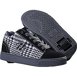 Heelys Straight Up Black/Plaid/Charcoal/White Heely Shoe