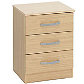 Ideal Furniture Budget Three Drawer Bedside Table - Beech