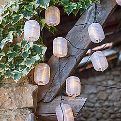 10 Warm White LED Solar Chinese Lantern Fairy Lights