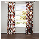 Hand Painted Floral Lined Pencil Pleat Curtains - Red