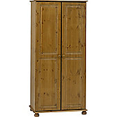 Strand - Solid Wood 2 Door Double Wardrobe - Antique Pine
