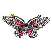 Rhodium Plated Clear & Pink Crystal Butterfly Brooch