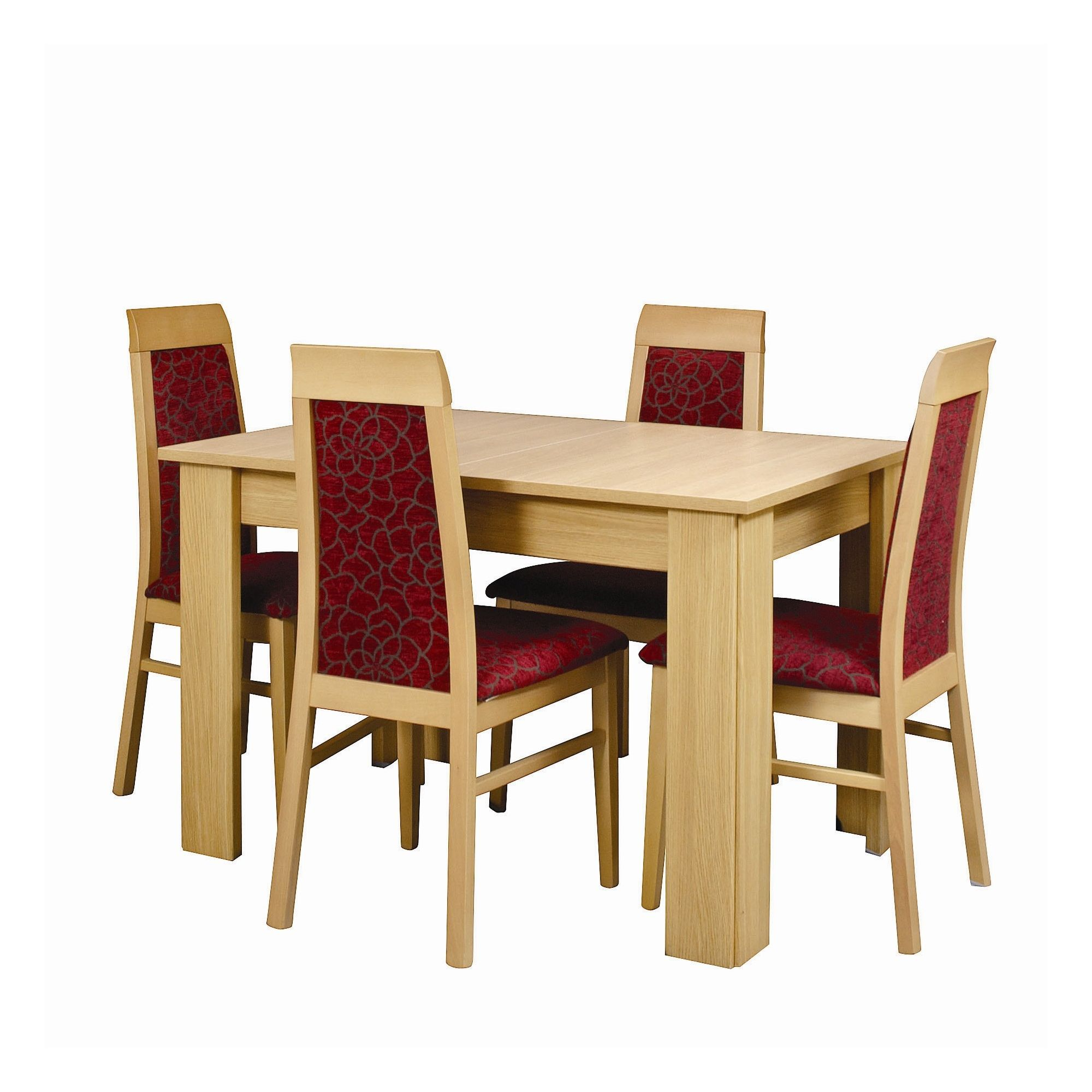Caxton Huxley 4 Leg Compact Extending Dining Table with 6 Chairs in Light Oak at Tesco Direct