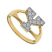 Jewelco London 9ct Gold Ladies' Identity ID Initial CZ Ring, Letter Y - Size M